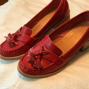 Swedish Hasbeens tassel loafers - RED!